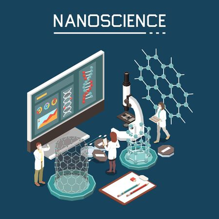 Nano science research innovation nanotechnology composition with organic electronics nano-structure computer monitor isometric images vector illustration