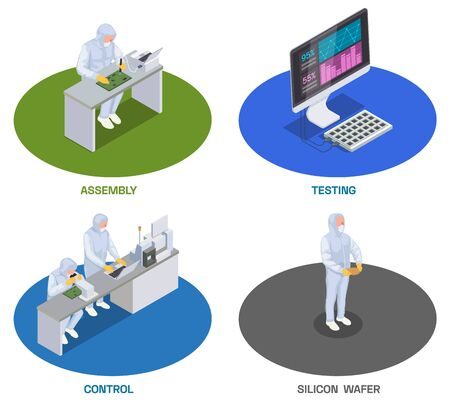 Semiconductor chip production isometric set of four isolated compositions with human characters of workers and computers vector illustration