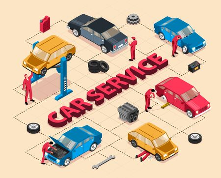 Isometric auto repair flowchart with text and images of cars under maintenance with tools and people vector illustration  イラスト・ベクター素材