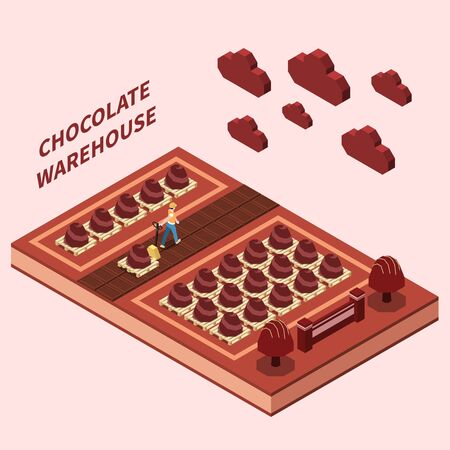 Chocolate warehouse abstract design concept with worker delivering on shelves sweet production isomeric vector illustration Vecteurs