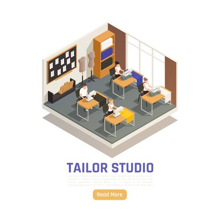 Fashion atelier studio isometric composition with seamstress dressmakers at sewing and locking machines tailors dummy vector illustration