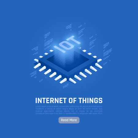 Internet of things abstract blue poster with  central processing unit isometric icon in center of background vector illustration