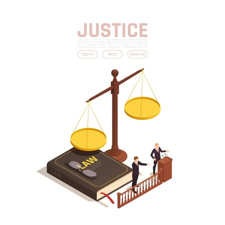 Law justice isometric background with images of weights with book and people with clickable text buttons vector illustration