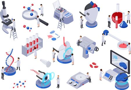 Future technology isometric set with isolated icons and human characters with test tubes molecules laboratory equipment vector illustration Ilustração