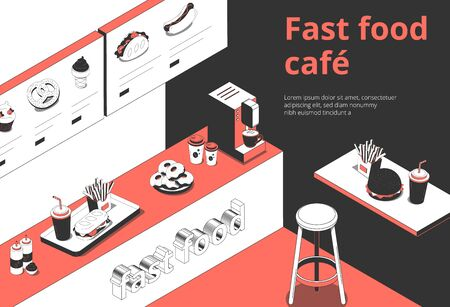Fastfood cafe interior isometric composition with digital menu board counter order tray french fries donuts vector illustration 向量圖像