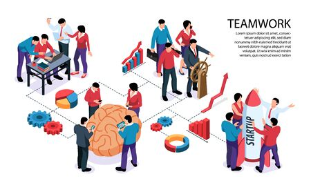 Teamwork concept horizontal infographic flowchart banner with common goal brainstorm collaboration profits growth diagrams startup vector illustration Stock Illustratie