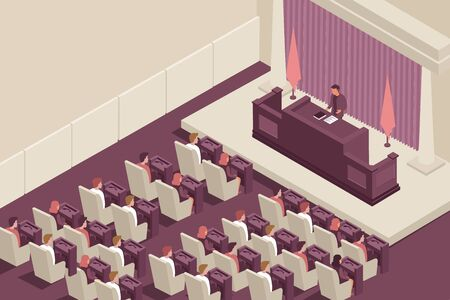 Parliament government isometric composition with parliament chamber indoor scenery with elected officials and spokesman with text vector illustration