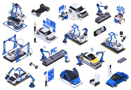 Electric vehicles production isometric icons set with robotic assembly line testing charging holographic projections screens vector illustration