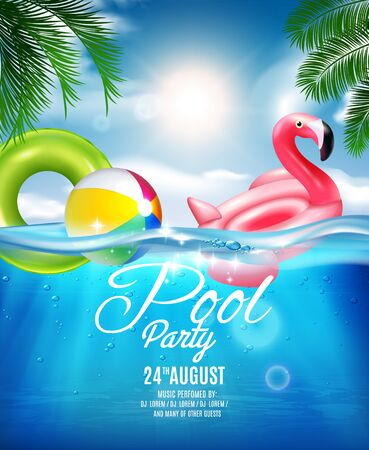 Underwater pool party composition realistic background with announcement and editable text with rubber toys and sea vector illustration