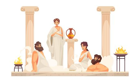 Ancient rome people wearing white tunics sitting in thermal bath cartoon vector illustration Illustration