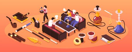 Isometric hookah tobacco smoke narrow composition with group of people smoking shisha and cigarette products icons vector illustration Vetores