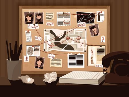 Detective board composition with view of investigators workspace with vintage telephone pinned suspect photos and captions vector illustration 向量圖像