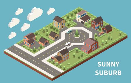 Sunny suburb isometric background illustrated green suburban neighborhood with good roads and modern buildings vector illustration