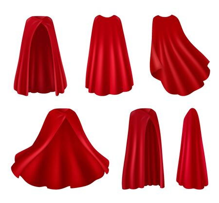 Red mantle realistic images set of isolated robes on blank background with various angles and poses vector illustration