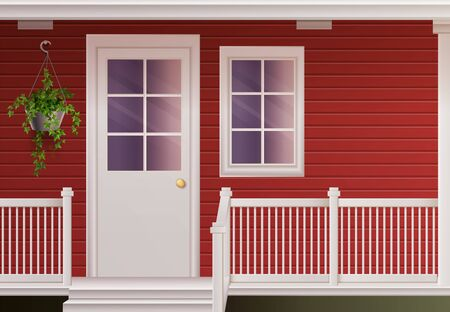 Private country cottage house facade with entrance door and fenced porch realistic poster vector illustration