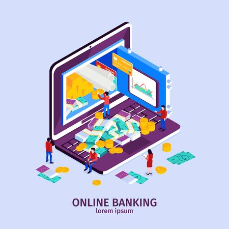 Online banking concept with modern technology symbols isometric vector illustration