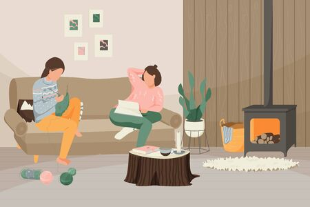 Hygge lifestyle flat composition with indoor scenery and female characters in living room environment with furniture vector illustration