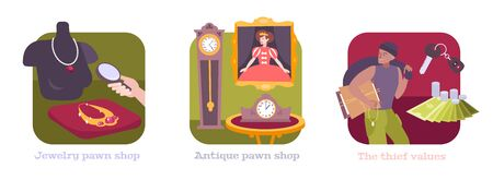 Pawnshop concept 3 flat compositions with antique clocks artwork painting pawn jewelry shop pawnbroker thief vector illustration