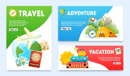 Travel flat banners set with airplane passport globe tourist tent compass map suitcase isolated vector illustration