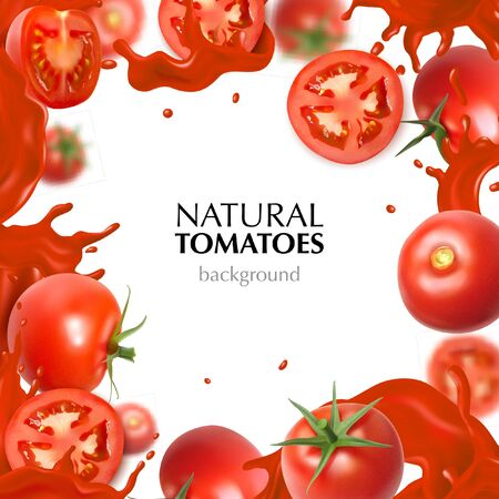 Realistic frame with natural whole and sliced tomatoes and juice splashes on white background vector illustration Illustration