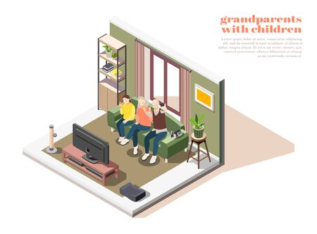 Grandparents with children composition of two elderly people and young girl taking selfies together isometric vector illustration