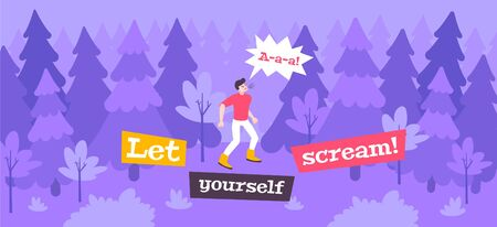 Scream stress flat composition with outdoor scenery and man shouting out loud in forest with text vector illustration