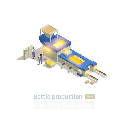 Glass container factory hot end automated production line operators isometric composition with furnace batch processing vector illustration  Ilustração