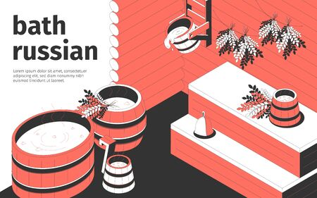 Russian bath interior and wooden accessories 3d isometric vector illustration 矢量图像