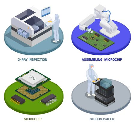 Semiconductor chip production isometric set of four round compositions with text and workers operating assembling stages vector illustration Imagens - 143967878