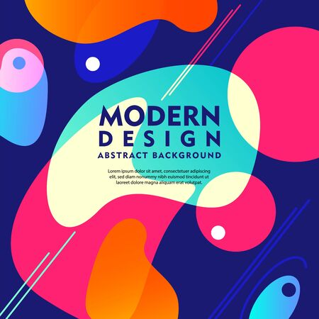 Modern design creative background with bright colorful abstract shapes flat vector illustration