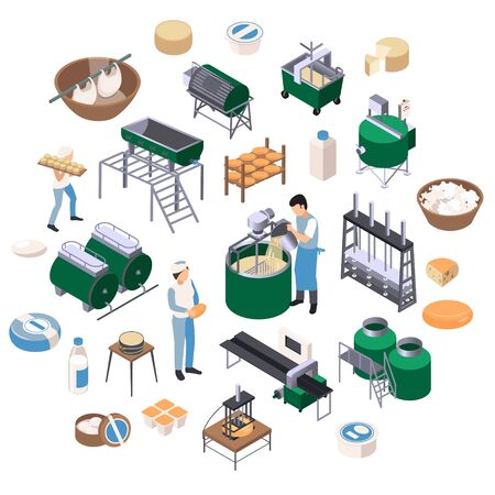 Dairy production isometric recolor round composition with isolated icons of industrial facilities and ready milk products vector illustration