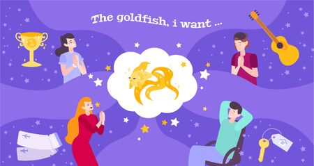 Gold fish dream flat composition with thought bubble goldfish and doodle human characters with their wishes vector illustration
