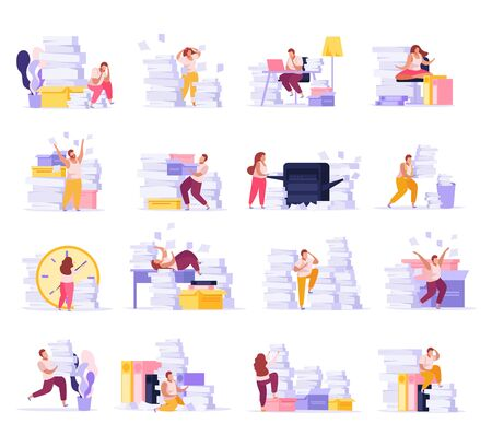 Flat icons set with people tired from paper work in office isolated vector illustration Standard-Bild - 143971338