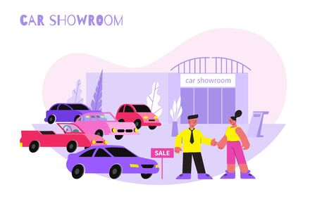 Woman car showroom salon flat composition with female character buying automobile with shop assistant and text vector illustration Vettoriali