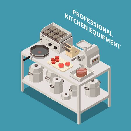 Professional kitchen equipment appliances isometric composition with industrial meat mincer chef knives electric grill pans vector illustration