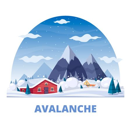 Natural disaster round composition of text and landscape with mountains and living houses with snow avalanche vector illustration