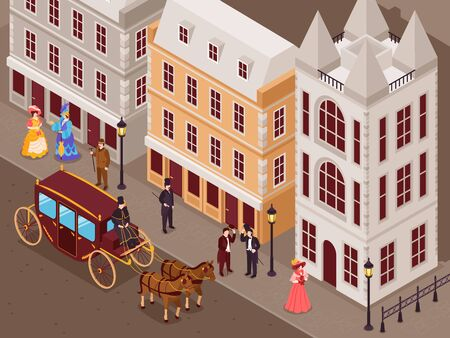 Victorian era street with city houses gentlemen ladies in fashionable crinoline skirts carriage isometric view vector illustration