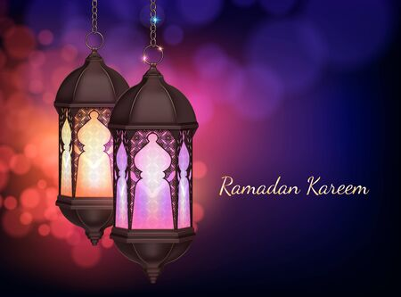 Ramadan kareem lantern hanging on chains composition with realistic images editable text and colourful blurry background vector illustration
