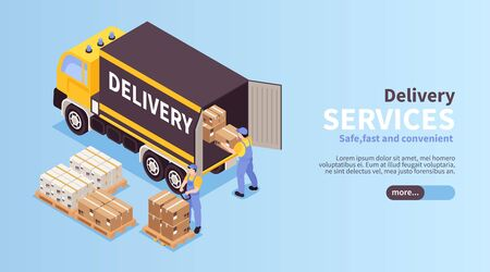 Reliable logistic services isometric landing page web banner with loading unloading local cargo delivery vehicle vector illustration Ilustrace