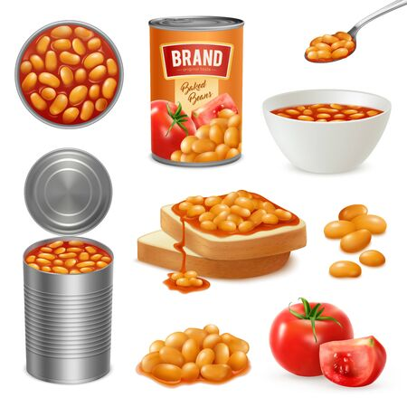 Beans baked in tomato sauce in opened can bowl on bread slices isometric realistic set vector illustration