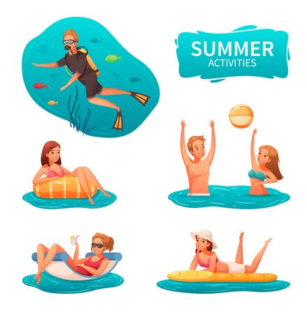Water sports and summer activities icons set with people diving playing with ball and relaxing cartoon isolated vector illustration