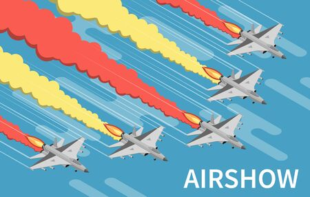 Military airshow aircraft painting sky with red yellow trails isometric top view blue background vector illustration