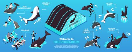 Welcome to dolphinarium isometric infographics layout with dolphin riding and kids entertainment elements horizontal vector illustration
