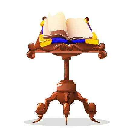 Old magic book on table cartoon concept with spell vector illustration