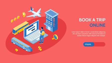 Online booking trip horizontal banner with laptop hotel bus train airplane isometric icons vector illustration