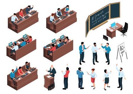Isometric professor lecture class students set of isolated icons human characters and desks with sitting students vector illustration