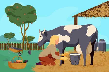 Organic farm flat composition with outdoor landscape apple garden and woman milking cow with gardening instruments vector illustration