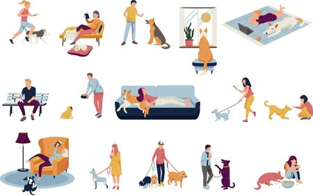 People with dogs collection of flat isolated icons with human characters and pets on blank background vector illustration