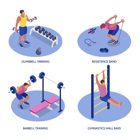 Fitness isometric set with man training with dumbbells barbells resistance band and wall bars 3d isolated vector illustration