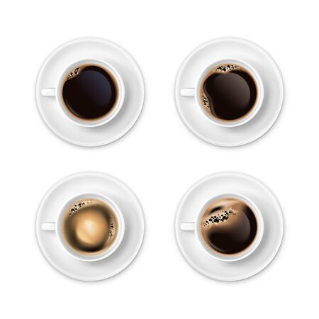 Black coffee with foam in white cups top view realistic set isolated vector illustration